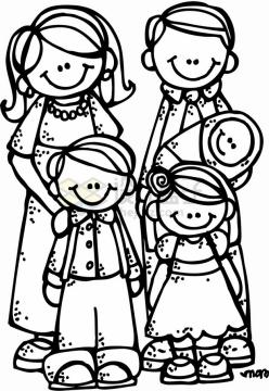 卡通一家五口一家人线条简笔画国际家庭日png图片素材