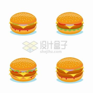 4款卡通汉堡包美味西餐美食png图片免抠矢量素材