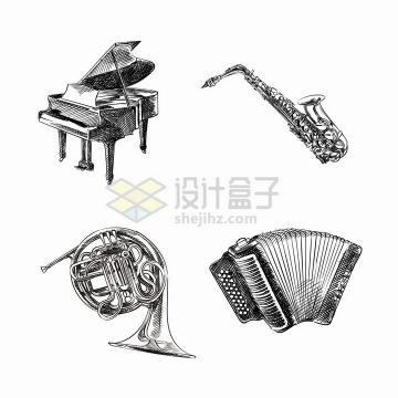 钢琴萨克斯圆号手风琴等手绘素描西洋乐器png图片免抠矢量素材