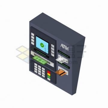 2.5D风格插了银行卡的ATM取款机png图片素材
