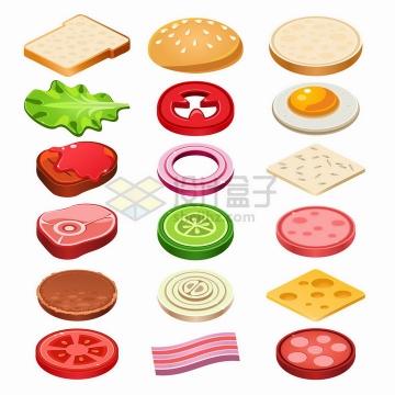 2.5D风格面包生菜西红柿煎蛋洋葱圈牛排等美味美食png图片免抠矢量素材