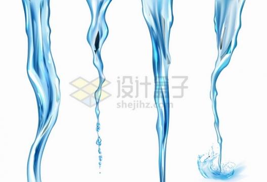 4款倾倒的蓝色液体水流效果png图片素材