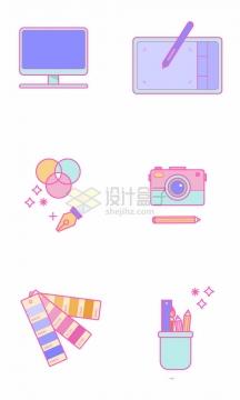 糖果色风格卡通电脑显示器绘图板照相机色卡等设计师用品png图片素材