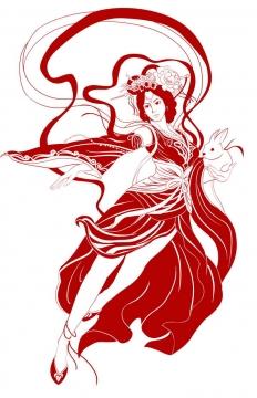 传统手绘风格红色线条抱着玉兔的嫦娥奔月仙女图片免抠素材