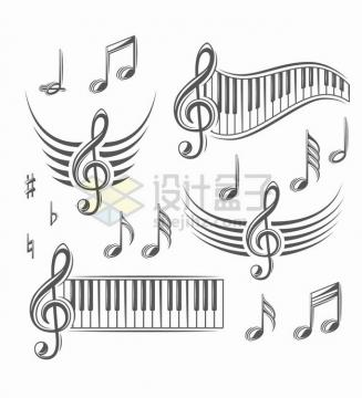 各种黑色的音符五线谱钢琴键等音乐元素png图片素材