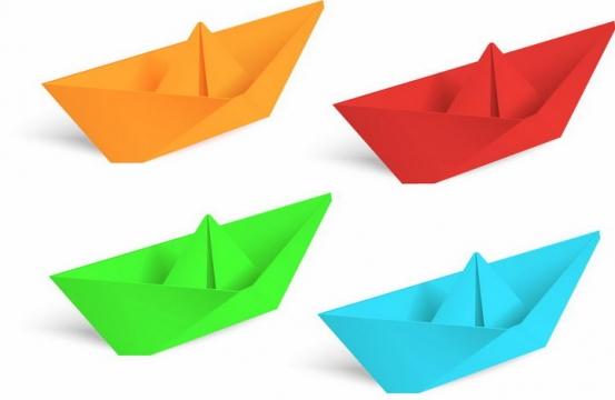 橙色红色绿色蓝色折纸船png图片免抠矢量素材