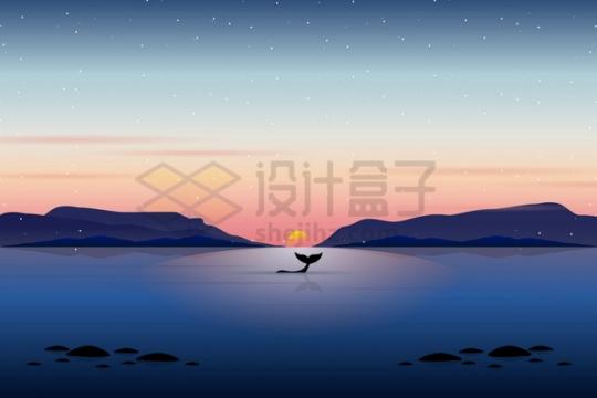 远处的大山和海峡近处平静的大海和鲸鱼风景插画png图片素材
