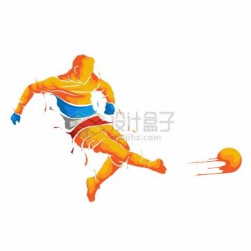 彩色漫画风格踢足球的运动员866163png图片素材