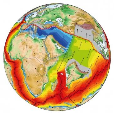 高清地球板块运动南亚次大陆撞击亚洲大陆地理教学配图png图片免抠素材