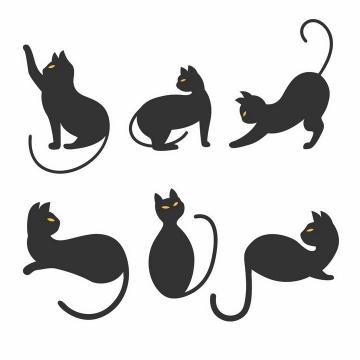 6款黄色眼睛的可爱卡通黑猫黑色猫咪图案png图片免抠矢量素材