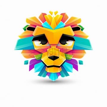 多彩色块组成的卡通狮子logo设计png图片素材