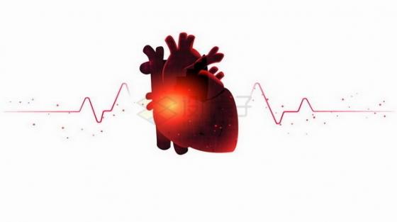 红色发光的心脏和心电图png图片免抠矢量素材