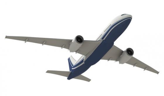 蓝白涂装的空客A320大中型客机飞机底视图png免抠图片素材