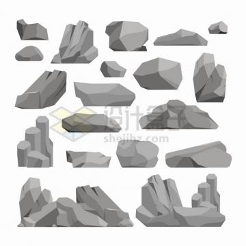 卡通石灰石灰色石头石块等png图片素材