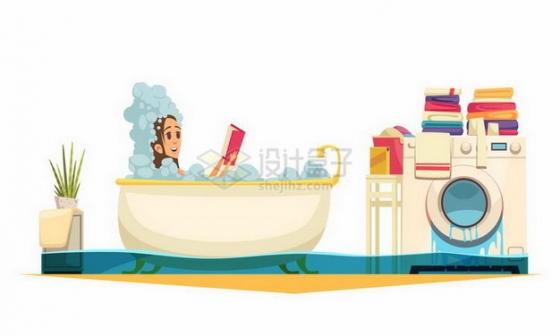 卡通美女正在洗澡下水道却堵塞了png图片免抠矢量素材