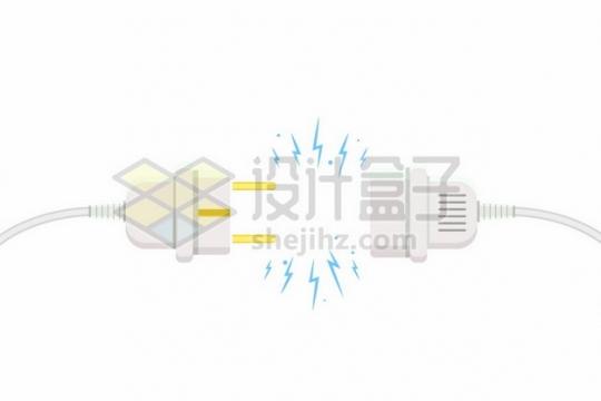 中间闪着电火花的电线插头387254png矢量图片素材