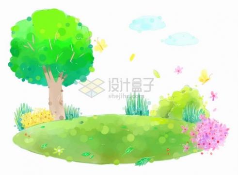 唯美风格绿草地上的大树和花丛还有飞舞的蝴蝶儿童插画png图片免抠eps矢量素材