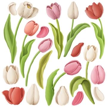 各种捏橡皮泥手工制作的百合花鲜花花朵花瓣叶子作品图片设计模板素材