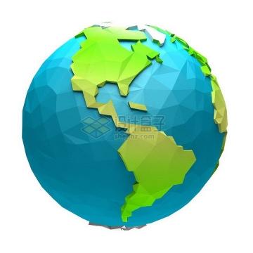 3D立体多边形组成的高清地球png图片免抠素材