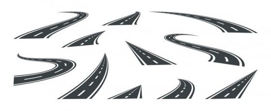 11款各种形状的通向远方的马路免抠矢量图素材