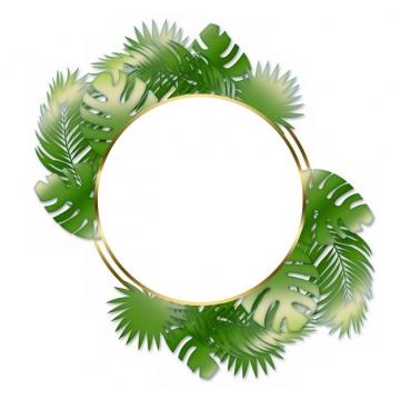 热带绿叶树叶装饰的金色圆形边框852483png图片素材