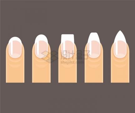 手指头上的不同形状的指甲png图片免抠矢量素材