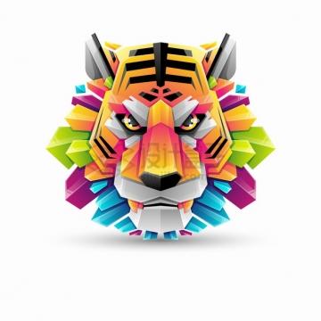 多彩色块组成的老虎logo设计png图片素材