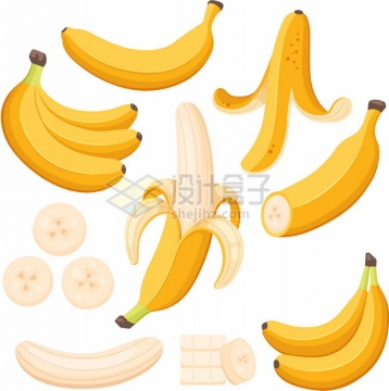 各种香蕉和香蕉切块334978png图片素材
