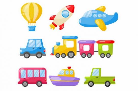 卡通热气球小火箭飞机汽车小火车公共汽车轮船和卡车png图片免抠eps矢量素材