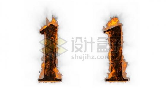 C4D风格燃烧着火焰的3D立体数字一1艺术字体668574psd/png图片素材