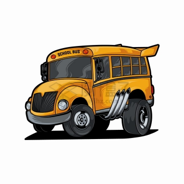 卡通改装黄色校车赛车png图片免抠eps矢量素材