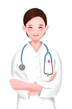 身穿白大褂的微笑卡通医生png图片免抠素材