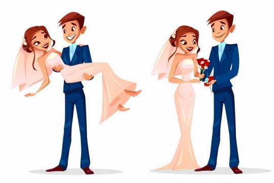 卡通漫画风格抱着新娘的新郎婚纱照结婚照订婚png图片免抠eps矢量素材