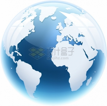 蓝色水晶按钮风格地球模型603369png图片素材