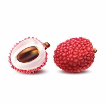 剥开的荔枝露出核的美味水果png图片免抠EPS矢量素材