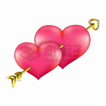 一支金黄色的箭将两颗红心串在一起情人节忠贞不二的爱情png图片免抠矢量素材