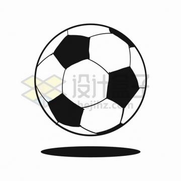 黑白色的足球图案体育手绘插画png图片素材