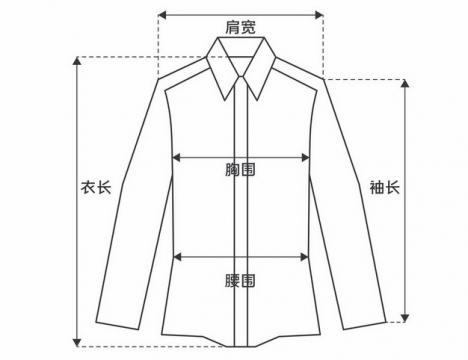 衣长肩宽胸围腰围袖长等上衣尺码对照表821650图片素材