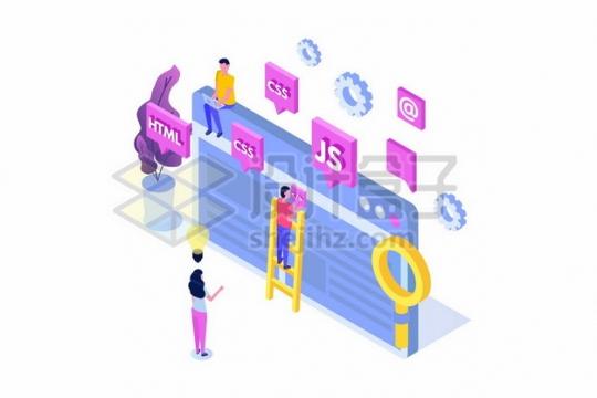 2.5D风格html/css/js等网页编程语言278148png矢量图片素材