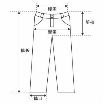 裤长腰围臀围裤口前档等裤子尺码对照表520382图片素材