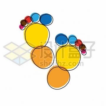 创意彩色小脚丫图案574169png矢量图片素材