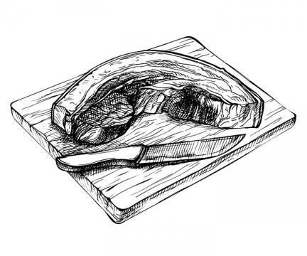 黑色线条手绘风格砧板上的五花肉图片免抠矢量素材