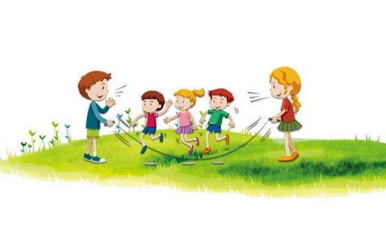 卡通风格在绿草地草坪上玩跳绳游戏的孩子儿童节图片免抠素材