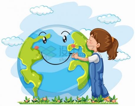卡通女孩抱着地球亲吻png图片素材