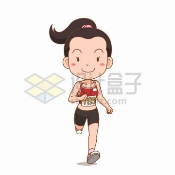 参加跑步比赛赛跑的卡通女孩插画png图片素材