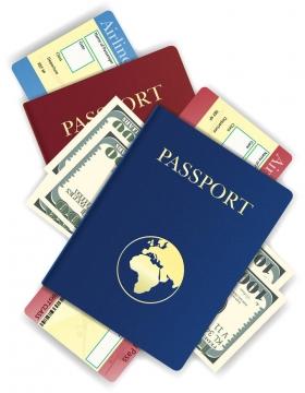 护照美元飞机票等一堆旅行用品免抠矢量图片素材
