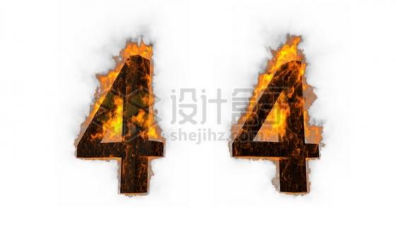 C4D风格燃烧着火焰的3D立体数字四4艺术字体986551psd/png图片素材