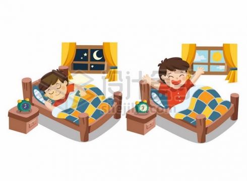 卡通小男孩晚上睡觉晚安早上起床早安379328png矢量图片素材