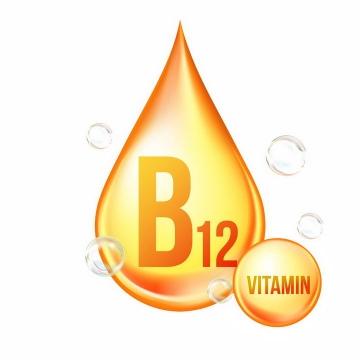 黄色油滴钴胺素维生素B12营养元素维他命保健品png图片免抠EPS矢量素材