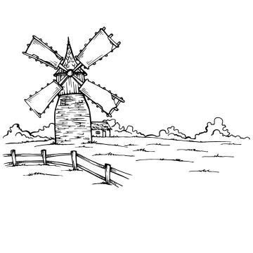 黑色线条手绘风格乡村里的大风车风景简笔画图片免抠矢量素材